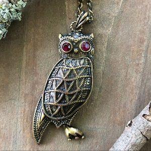 Jewelry - Jewel-eyed brass owl pendant necklace